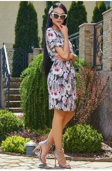 Легкое летнее принтованное платье красные цветы