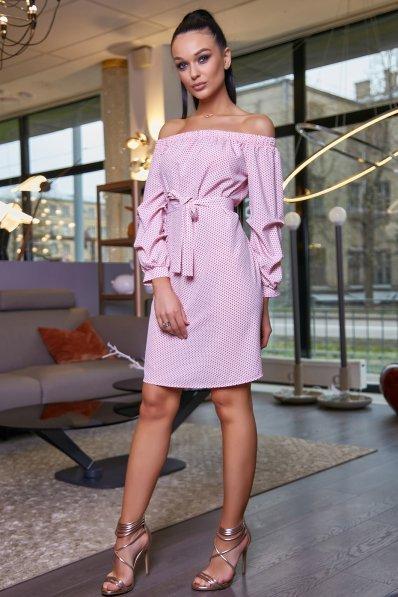 Легкое розовое платье в горошек с открытыми плечиками