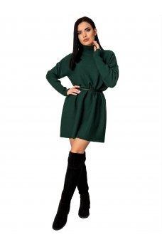 Теплое зимнее платье зеленого цвета