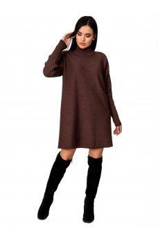 Теплое зимнее платье шоколадного цвета
