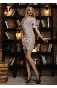 Нарядное платье с люрексом пудрового цвета с вырезом на спинке