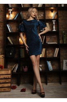 Нарядное платье с люрексом синего цвета с вырезом на спинке