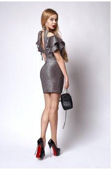 Нарядное платье с люрексом бордового цвета с вырезом на спинке
