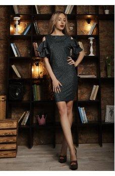 Нарядное платье с люрексом изумрудного цвета с вырезом на спинке