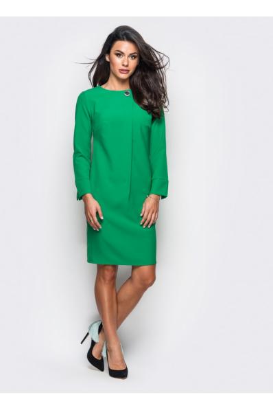 Зеленое платье с костюмной ткани