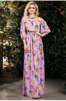 Романтичне бузкове плаття з візерунком