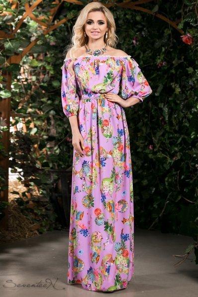 Романтичное сиреневое платье с узором