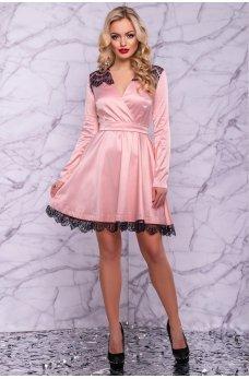 Роскошное атласное платье персикового цвета