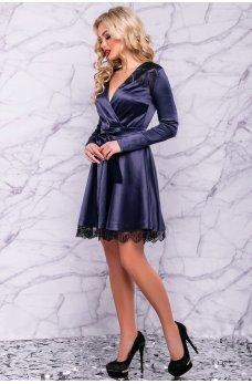 Роскошное атласное платье темно-синего цвета