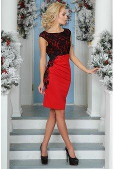 Роскошное нарядное красно-черное платье