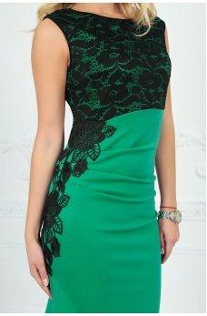 Роскошное нарядное платье зеленое с черным