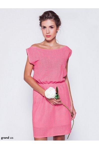 Коралловое платье коттон