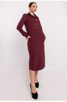 Бордовое платье-рубашка длины миди