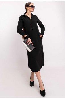 Черное платье-рубашка длины миди