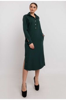 Изумрудное платье-рубашка длины миди