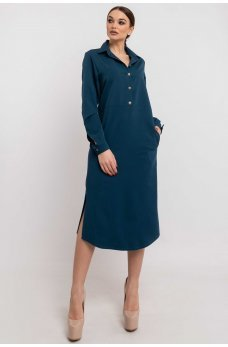 Синее платье-рубашка длины миди