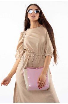 Бежевое свободное летнее платье