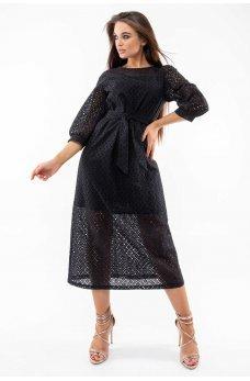 Черное воздушное платье с поясом
