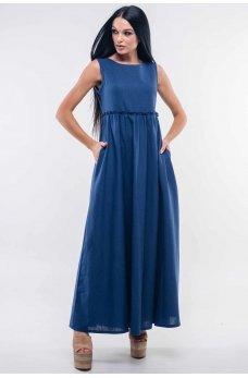 Льняное темно-синее платье макси