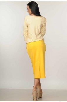 Желтая яркая юбка миди
