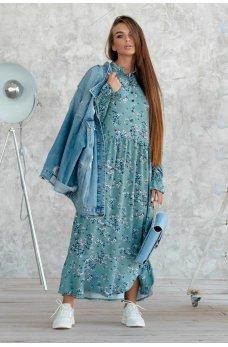 Привлекательное принтованное платье миди цвета бриз