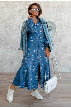 Синее стильное платье миди с цветочным принтом