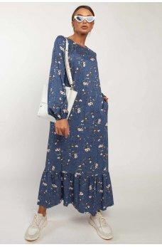 Синее оригинальное воздушное платье с принтом