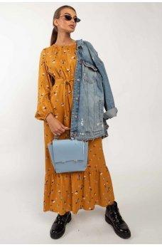 Горчичное молодежное платье миди с принтом