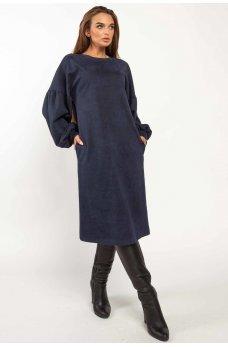 Темно-синее оригинальное мягкое платье