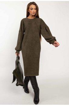 Гламурное платье цвета хаки