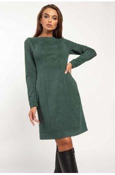 Изумруднное стильное платье с карманами