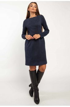 Темно-синее оригинальное короткое платье