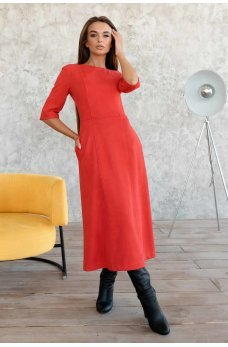 Красное яркое платье миди