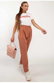 Терракотовые стильные брюки на запах
