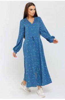 Нежное платье миди джинсового цвета с принтом