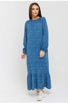 Стильное свободное платье джинсового цвета