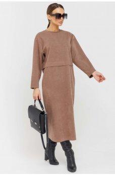 Оригинальное платье цвета капучино