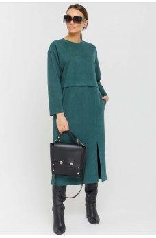 Изумрудное утонченное платье миди