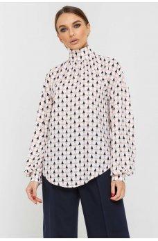Белая принтованная блуза с фигурным низом