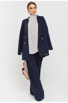 Темно-синие стильные брюки со стрелками