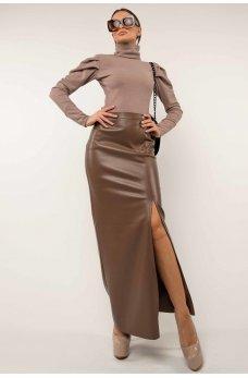 Стильный женский костюм капучино-лилового цвета