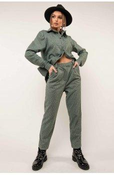 Очаровательные клетчатые брюки цвета бриз
