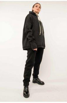 Черные теплые брюки в спортивном стиле