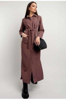 Практичное полосатое платье-рубашка цвета пыльная роза