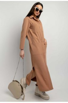 Оригинальное однотонное платье-рубашка цвета кэмел