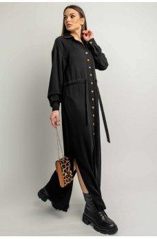 Черное длинное платье-рубашка на каждый день
