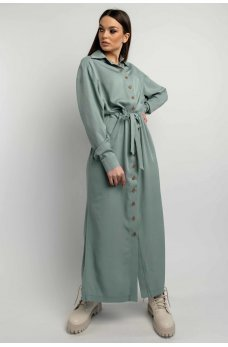 Оливковое практичное однотонное платье-рубашка