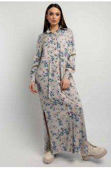Серо-бежевое цветочное платье-рубашка