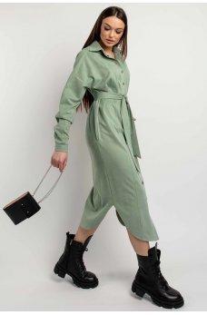 Оливковое мягкое платье-рубашка с поясом