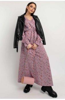 Сиреневое длинное платье макси с флористическим принтом